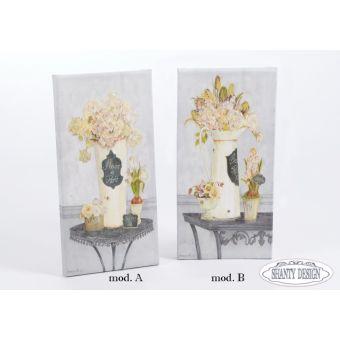 quadro da muro su tela shabby chic con decori e fiori provenzali e country online modello ROMANCE 1