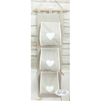 porta carta igienica da muro in tessuto shabby chic online con cuore provenzale colore sabbia country
