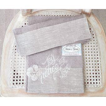 Coppia asciugamani in lino e pizzo shabby chic per bagno stile provenzale ROMA 4 online