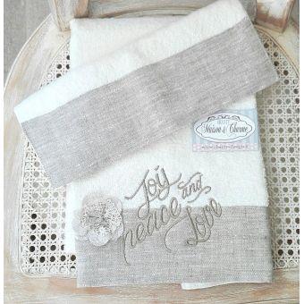 asciugamano per bagno stile country in lino bianco ecru e pizzo shabby chic roma 5 online