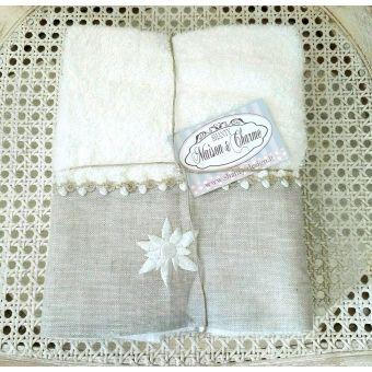 asciugamano bianco e colore sabbia in stile shabby chic roma 7 in tessuto e lino provenzale online.