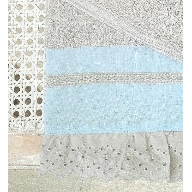Elegant set asciugamano grigio polvere shabby e celeste con balza ad uncinetto stile provenzale - Set asciugamani bagno ikea ...