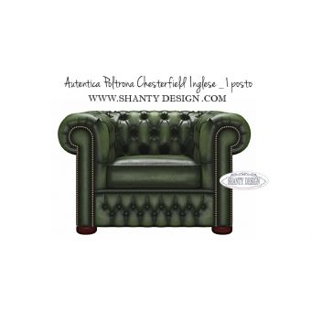 Poltrona Chesterfield in pelle Vintage ROMA VERDE
