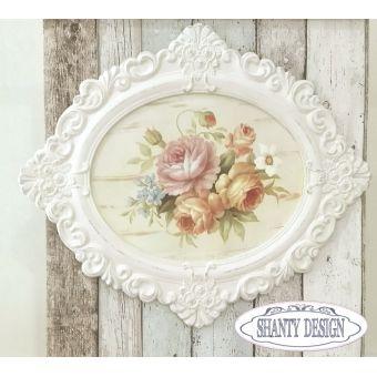 quadro ovale con cornice in legno bianco antico patinato fregi intarsi  country ROMANCE 9 online