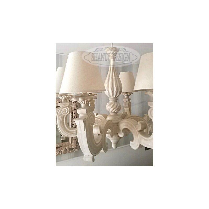 lampadario country : lampadario a 6 luci in legno bianco country sSONIA 1 stile shabby chic ...