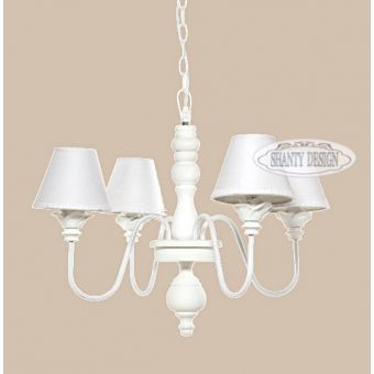 lampadario SONIA 2 in ferro battuto bianco shabby chic a 4 luci con coprilume in tessuto provenzale online