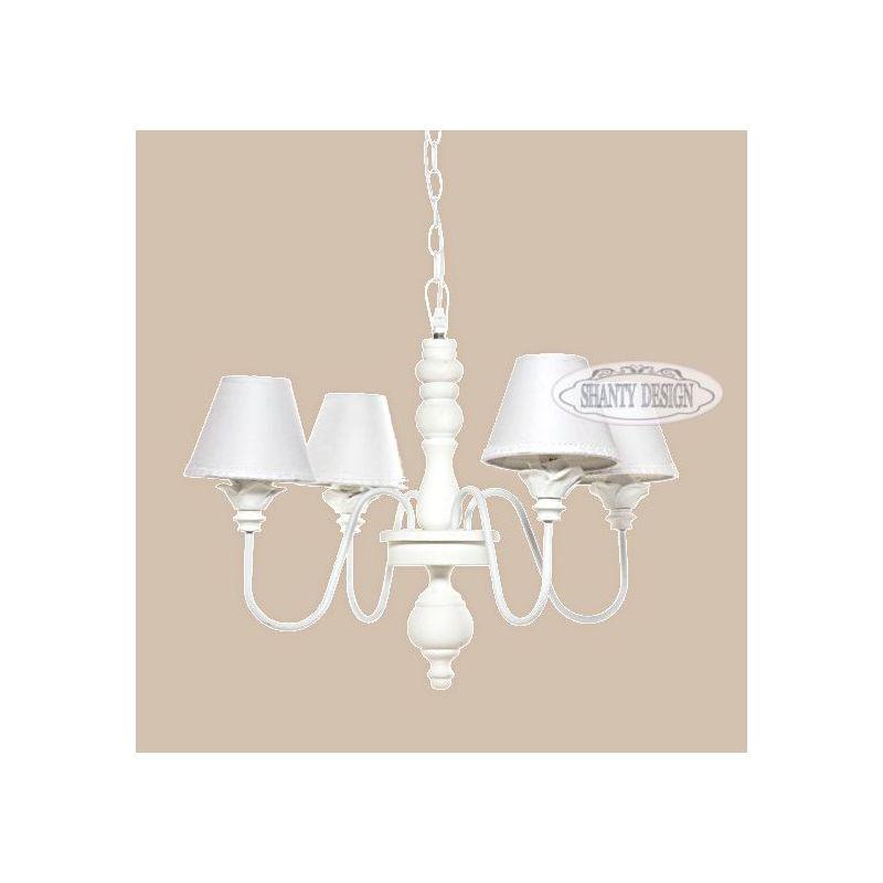 lampadario SONIA 2 in ferro battuto bianco shabby chic a 4 luci con ...