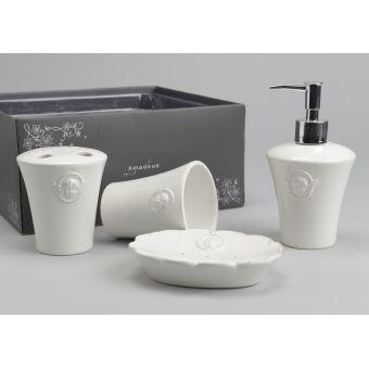 accessori bagno in ceramica bianca shabby chic online roma