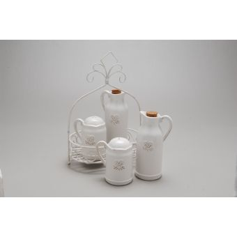 set olio aceto sale pepe in ceramica bianca per cucina shabby chic online roma