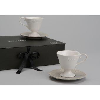 set 6 tazze caffè in ceramica bianca shabby chic e piattino provenzale vendita online roma
