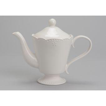 teiera in ceramica bianca provenzale con decori shabby chic online VANITY negozio a roma