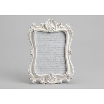 cornice foto in legno decape bianco con decori e fregi in stile shabby chic online roma