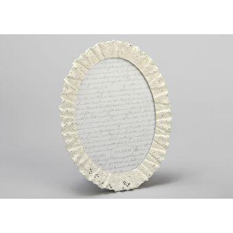 cornice ovale foto in legno decape bianco con pizzo e merletto shabby chic online