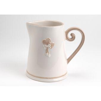 brocca in ceramica bianca ed avorio in stile shabby chic LISA con decori provenzali online