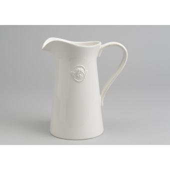 brocca in ceramica bianca in stile shabby chic LARA con decori provenzali online ed angelo