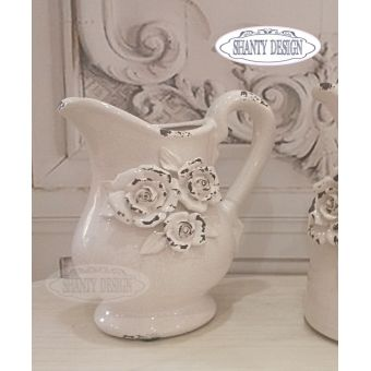 brocca in ceramica rosa cipria shabby chic con rose in stile provenzale ROSALINDA 1 in vendita online.