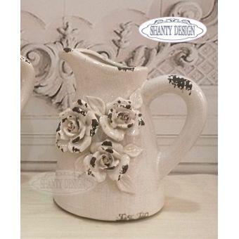 brocca in ceramica rosa cipria shabby chic con rose in stile provenzale ROSALINDA 2 in vendita online.