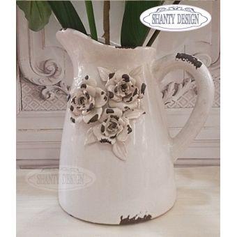 brocca in ceramica rosa cipria shabby chic con rose in stile provenzale ROSALINDA 3 in vendita online
