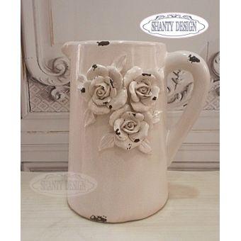 brocca in ceramica rosa cipria shabby chic con rose in stile provenzale ROSALINDA 4 in vendita onlin