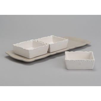 vendita  online vassoio ceramica bianca provenzale online con 3 coppette in stile shabby chic per tavola country