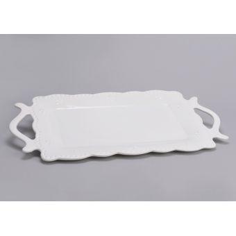 vassoio da portata presentazione in ceramica bianca shabby chic con decori provenzale online