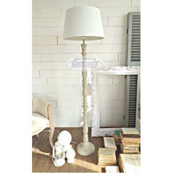 piantana luce in legno colore tortora sbiancato decape con coprilume in tessuto bianco shabby online