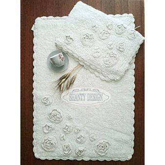 tappeto da bagno bianco in stile shabby chic ROMA 1 con rose e merletti provenzali online