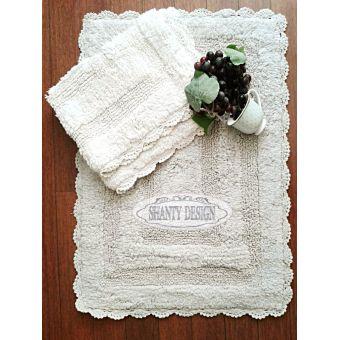 tappeto bagno bianco e grigio in spugna shabby chic con merletto uncinetto stile provenzale online ROMA 2