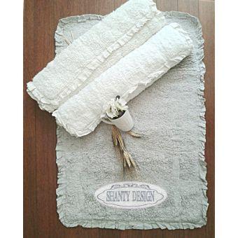 tappeto bagno bianco e grigio in spugna shabby chic con bordo a rouches uncinetto stile provenzale online ROMA 3