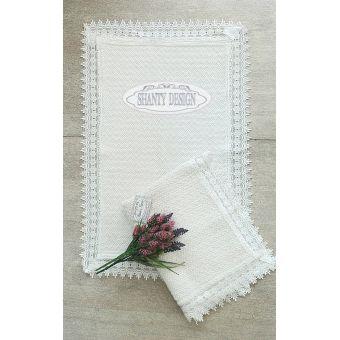 tappeto bagno bianco ROMA 4 con bordo in pizzo merletto in tessuto lino provenzale online