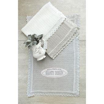 tappeto bagno con bordo in pizzo ROMA 5 provenzale online colore ecru grigio bianco shabby chic