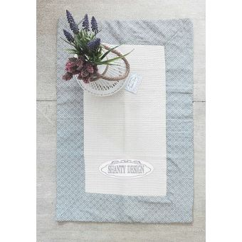tappeto cucina in cotone e lino NADIA 3 shabby chic beige e celeste con fiori provenzali