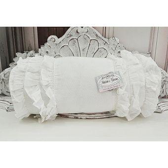 cuscino imbottito bianco in tessuto shabby chic con 3 balze in lino provenzale SONIA 1 online