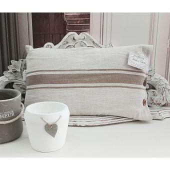 cuscino rettangolare in lino grezzo naturale shabby chic con balza in stile provenzale online e roma SONIA3