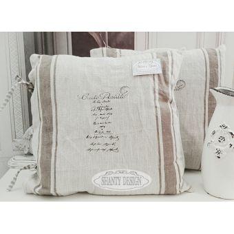 cuscino quadrato in lino grezzo naturale country con balza vintage in stile provenzale online e roma SONIA4.