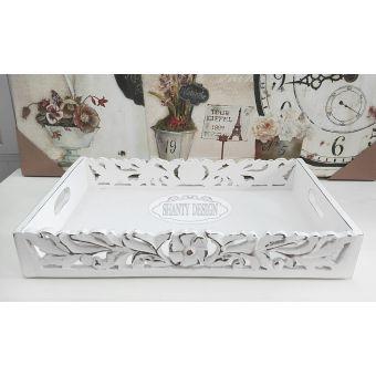 vassoio in legno bianco antico decapato shabby con intarsi e fregi in stile country ROMA 2