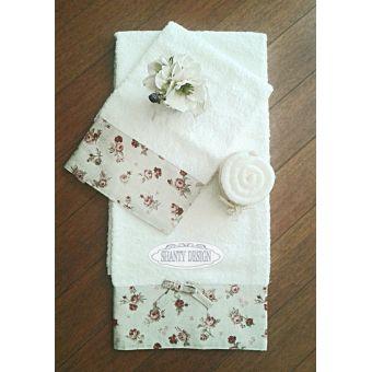 coppia 2 asciugamani bianchi in stile shabby chic con decori floreali provenzali per bagno country online