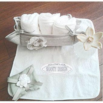 cestino 3 lavette con asciugamani bianchi per bagno shabby chic in tessuto provenzale online