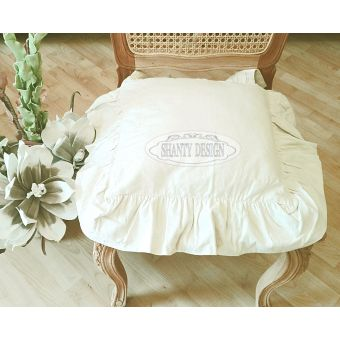 federa cuscino per sedia shabby chic in tessuto cotone provenzale di colore beige sartoriale online LUCI 1