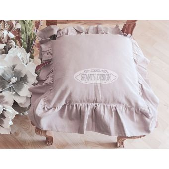 federa cuscino per sedia shabby chic in tessuto cotone provenzale di colore rosa cipria sartoriale online LUCI 2