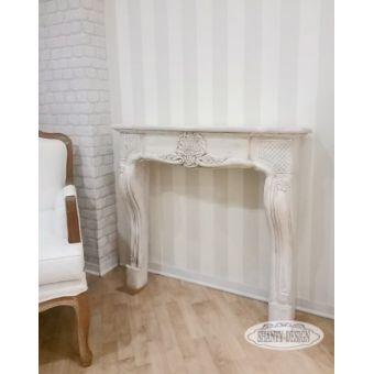 Cornice Camino ROMA 4 Shabby Chiccornice in legno bianco antico decapato con decori in stile shabby chic roma online