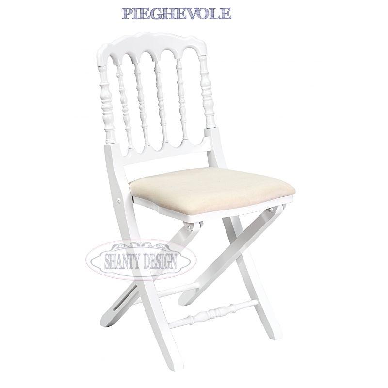 Sedie In Legno Richiudibili.Sedia Pieghevole Provenzale Roma 11 Sedie Shabby Chic
