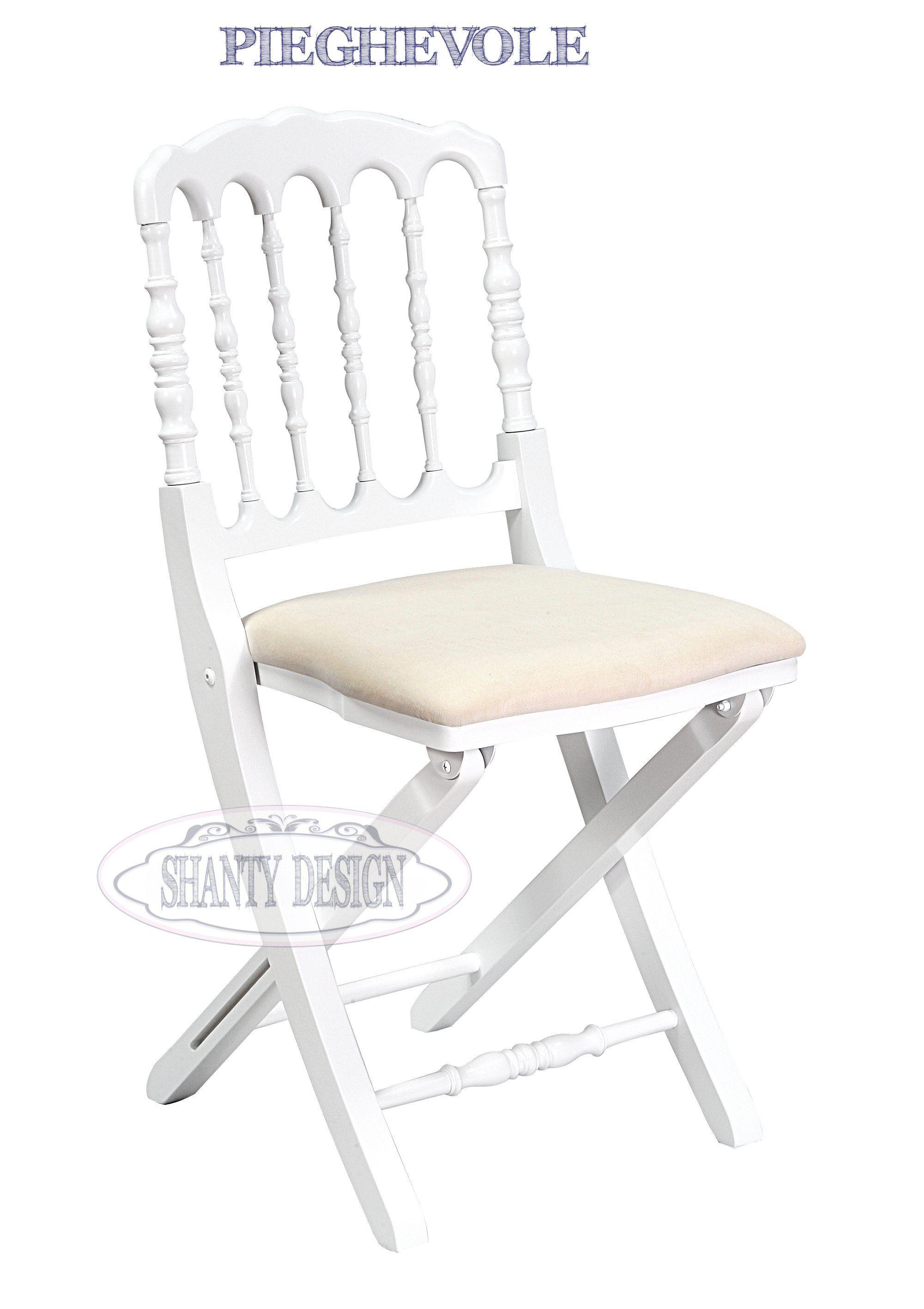 Sedia pieghevole provenzale roma 11 sedie shabby chic for Sedia a dondolo provenzale