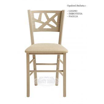 Sedia ROMA 15 in legno traforato in stile vintage retrò bianca con seduta imbottita per ristoranti bar shabby online