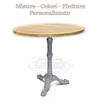 tavolo bar ristorante roma 7 tondo  centrale in ghisa vintage  e piano in legno per arredamento cucina bar bistrot online