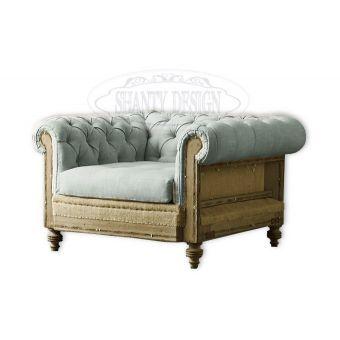 offerta online poltrona imbottita chesterfield stile vintage in tessuto per camera letto salotto negozi locali stile industriale