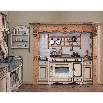 cucina 3 su misura in legno provenzale con cappa in castagno spazzolato bianco decapato online falegnameria