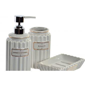 set 3 accessori bagno ceramica grigio chiaro provenzale in vendita online shabb