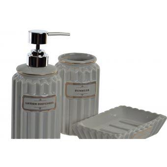 set 3 accessori bagno ceramica grigio scuro provenzale in vendita online shabby