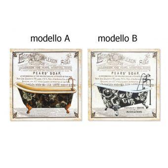 quadro in metallo legno bagno shabby in stile vintage industrial online vendita roma